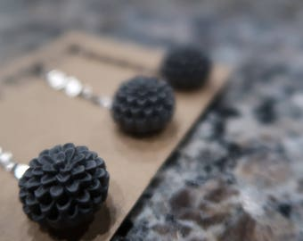 Dark Grey Flower Bobby Pin Set - 3 Flower Bobby Pins