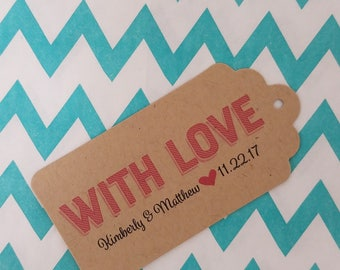 Wedding Gift Tags - With Love - Customizable Personalized (WT1808)