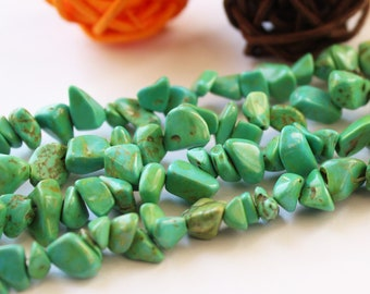 Natural TURQUOISE BEADS Nugget 4mm*10mm Chinese Green Freeform /1 full strand/85cm/#GZ-S80311P802
