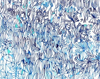 Blue Field- original large print large  print blue print blue line print