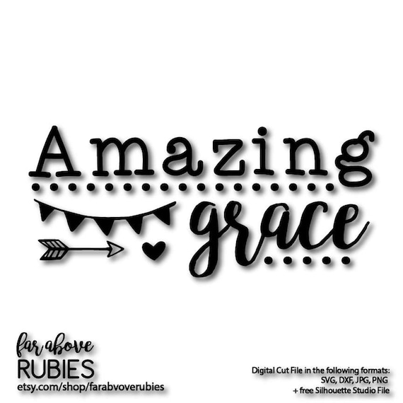 Amazing Svg: Amazing Grace With Banner Heart Arrow SVG EPS Dxf Png