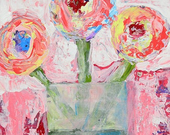 Roses Flower Painting Print. Frosted Glass. Pink Floral Living Room Wall Digital Print. Pink Cottage Chic Decor. 324