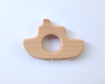 Tug Boat Natural Wood Teether, Natural Wooden Boat Teether,  Natural Unfinished Wood Teether, Natural Wooden Teether