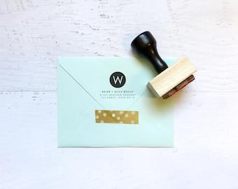 Circle monogram custom address stamp - the Wesley - gift, invitation, housewarming, wedding - wood mounted with handle OR self-inking