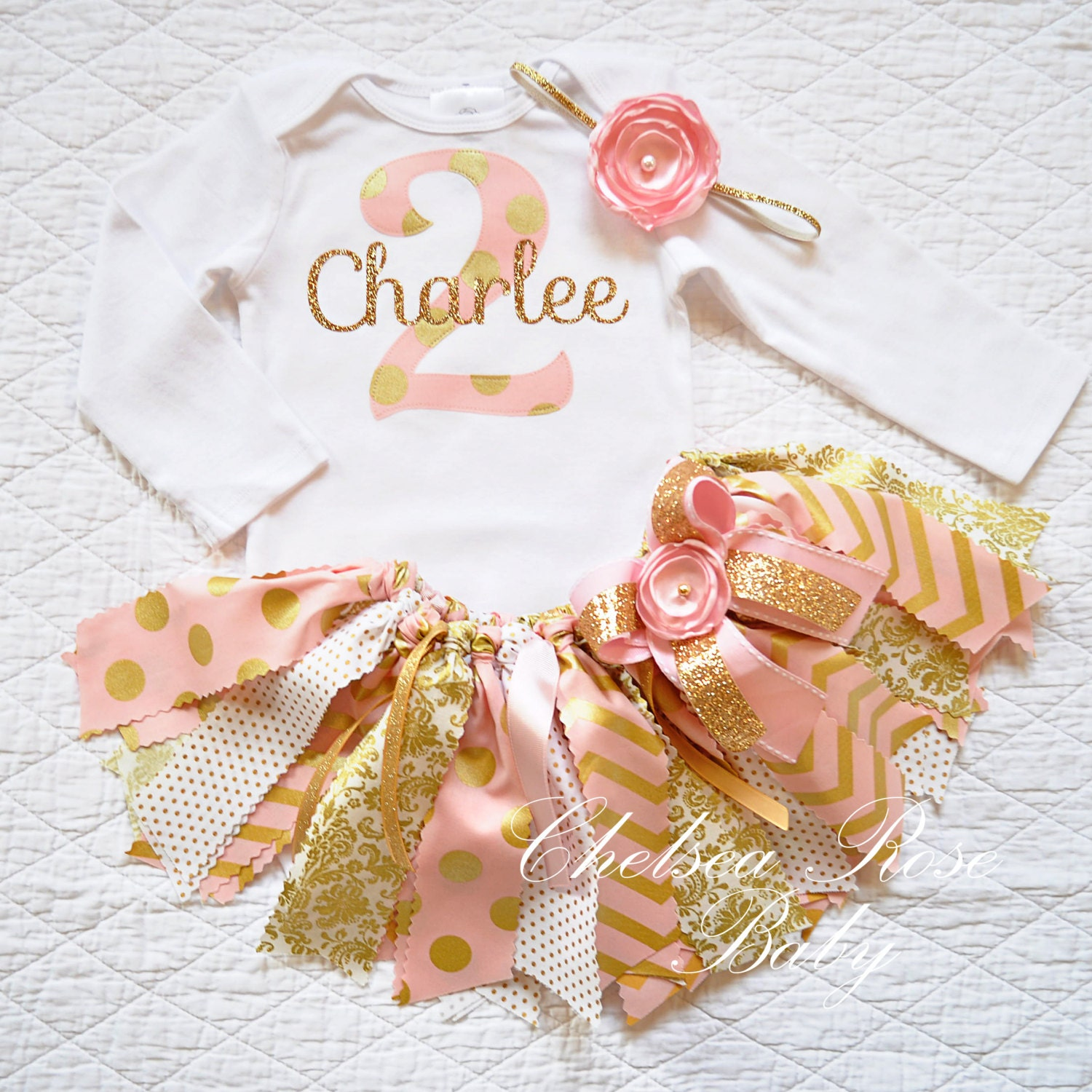 Pink And Gold Fabric Tutu Outfit First Birthday Tutu Set