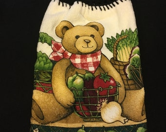 Teddy Bear with Veggies Double Sided Kitchen Hand Towel Black 1