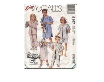 Childrens Pajamas Pattern , Sleepwear , Nightshirt , Easy Uncut McCalls 5147 Size 8 10 - Help Rescued Cats