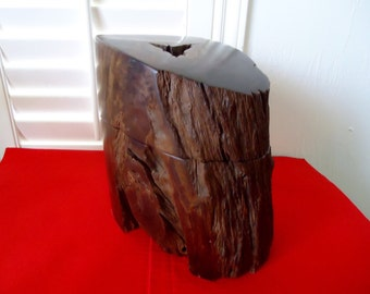 Ironwood Sculpture by JEFFREY SEATON of Seaton Wood Designs Heavy Log Container Vintage 1987 Ironwood Log Sculpture