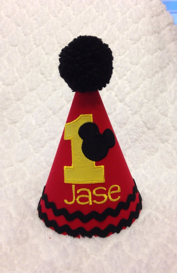 Embroidered Birthday Hat Mickey Mouse Cake Smash Hat
