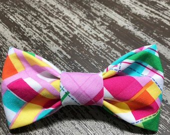 Bow Tie or Flower Collar Attachment & Accessory for Dogs and Cats / Bright Summer Tartan