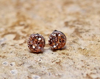 Tiny Rose Gold Druzy Earrings, 8mm Round Druzy Earrings Bronze Metallic Glitter Faux Drusy Posts Glittering Gold Stainless Steel Studs