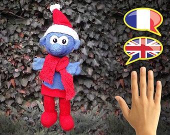 KNITTING tutorial/pattern: Christmas Smurf puppet - puppet smurf