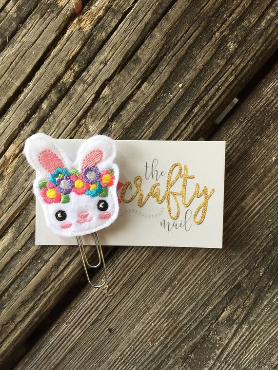 Bunny with flowers Clip/Planner Clip/Bookmark.