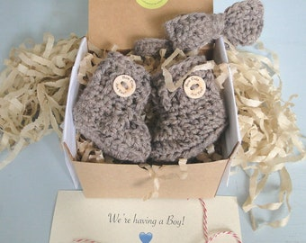 Baby Boy Reveal, Bow Tie and Booties in a Box® Set, Daddy Reveal, Pregnancy Reveal Idea, Grandparent Reveal,  Gift, Gender Reveal