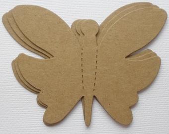 "FLUTTER BUTTERFLIES -  Bare Chipboard Die Cuts - Butterfly Diecut Embellishments - 3.5"" Wide"