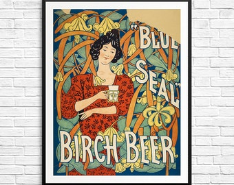 Birch beer, vintage beer poster, antique beer poster, vintage beer ad, beer advertisement, blue seal birch beer, art deco posters, posters