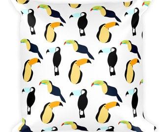 Toucan Pattern Throw Pillow