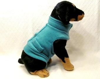 Teal Fleece Dog Hoodie Vest Harness Size MEDIUM
