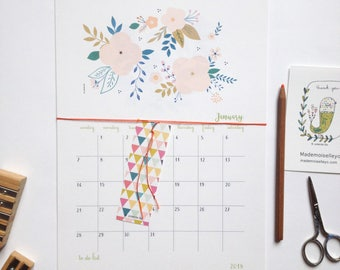 2018 Calendar - 2018 wall calendar - 2018 calendar with a planner - to do list - 2018 illustrated calendar - 2018 botanical calendar floral