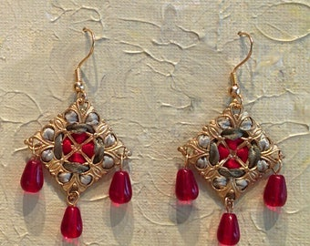 Handmade Diamond-shaped Ribbon and Filigree Earrings with Red Glass Beads