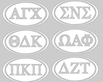 Greek Letter Club Decal; Greek Clubs, Sorority, Fraternity, oval decal