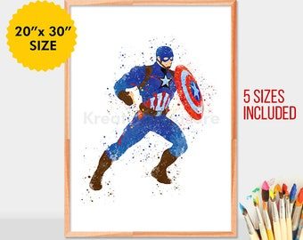 Captain America, superheroes watercolor, captain america wall art, avengers, captain america wall decor, marvel print, poster, room decor