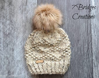 Handmade Ivory/Cream Knit Beanie with your choice of One Detachable Faux Fur Pompom
