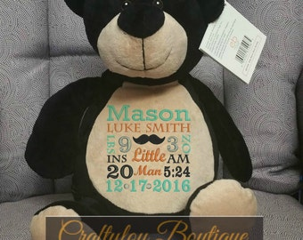 """Black Bear, 16"""" Personalized Birth Announcement, Embroidered Animal, birth stats, Personalized Baby Shower Gift, New baby gift, Name"""