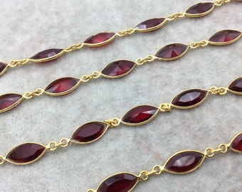 Gold Plated Copper Bezel Link Rosary Chain with 8mm x 15mm Faceted Deep Red Hydro Quartz Marquise Bezels - Sold by 1' Sections