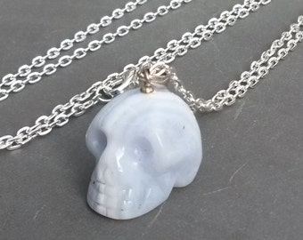 Powder BLUE Lace Agate Stone Carved SKULL 925 Sterling Silver Pendant Necklace charm RARE Pale Angelic White Striped Mineral Jewelry gift