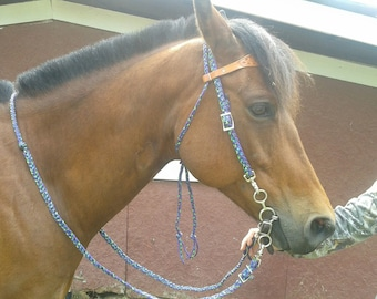 Custom Paracord Tack Reins, Headstalls, Breastcollars, tiedowns, over and under whips, crops, lunge lines, lead lines and rope halters