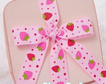"""1"""" Pink With Strawberries Grosgrain Ribbon, Printed Grosgrain Ribbon"""