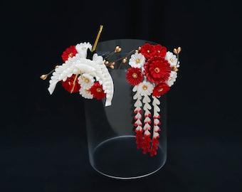 Crane, Red and White Chrysanthemum Tsumami Kanzashi Set 394