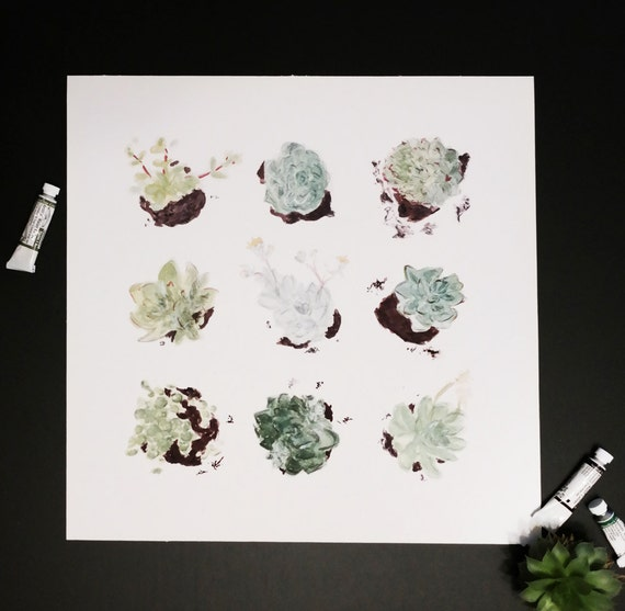 Watercolor Botanical Study: Succulents art print of an original watercolor illustration *SALE - 20% OFF*