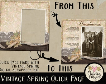 Vintage Digital Scrapbook Page - Vintage Spring Digital Scrapbook Layout - Pre-Made Shabby Vintage Quick Page Layout, Digital Page Layout
