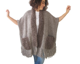 Beige - Brown Wool Boucle Hand Knitted Fringe Cardigan with Pockets