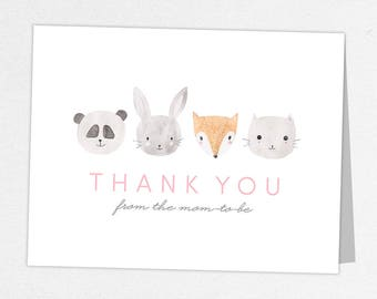 Woodlands Thank You Card, Baby Shower Thank You Card, Baby Thank You Card, Watercolor, Animals, Fox, Rabbit, Panda, Kitten, Animal Shower
