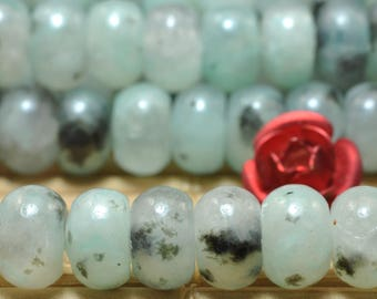 92 pcs of Natural Sesame Kiwi Jasper smooth rondelle beads in 4x6mm