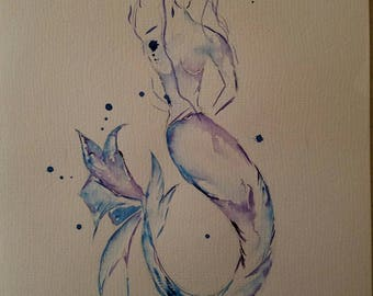 Mermaid original watercolor. Approx 9x11 insize.  Inframed.  One-of-a-kind, no prints.