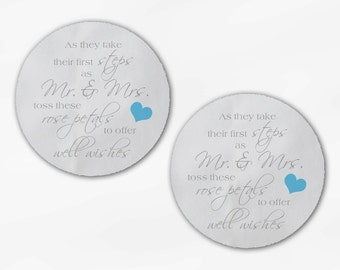 Shower the Mr and Mrs Wedding Favor Stickers - Gray and Light Blue Custom White Or Kraft Round Labels for Bag Seals, Envelopes (2032)