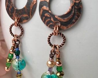 Round Dangle Earrings - Copper Earrings - Nickle Free Earwire