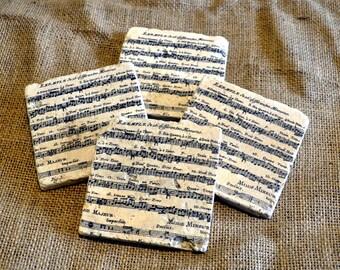Music Sheet Natural Stone Coaster