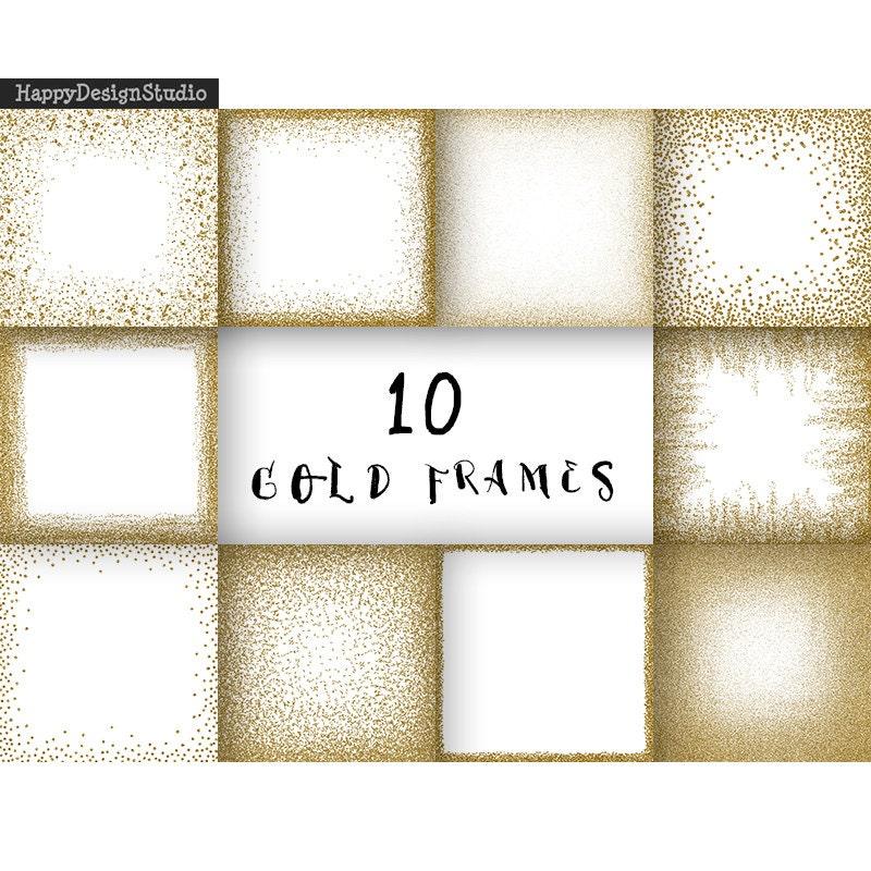 Gold glitter frames digital paper clipart golden overlays png