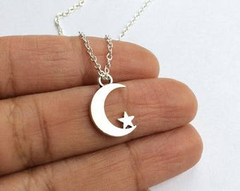 Moon and Star Necklace, Moon Star Necklace, Layered Necklace, Crescent and Star Necklace, Star Necklace, Moon Necklace,