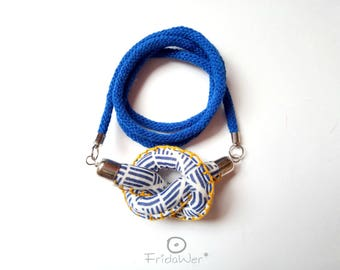 Long necklace nautical style with knot pendant in Mustard. Mother's Day gifts for her Knotted sailor necklace, nautical blue knot jewelry