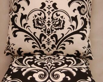Premier Prints Black White Throw Pillow Cover Damask, Decorative Sofa Pillow, invisible zipper closure