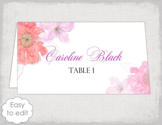 place card template flower garden tent name cards