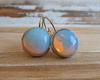 Ceylon Opal Gemstone Earrings/ Silver