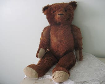 "Large Antique Cinnamon Mohair Teddy Bear C1920 27"" Tall Nordic Style, Shabby Decor"