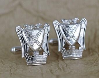 Vintage Shield Design Cufflinks - Silver Tone - Vintage Men's Jewellery - Formal Wear Accessory - Grooms Gift